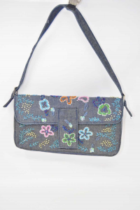Handbag In Jeans Renè Derhy With Embroidery Pearls 28x14 Cm