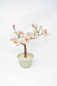 Piantina Finta Giapponese Con Fiori E Foglie In Vetro 30cm