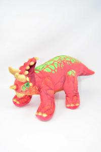 Peluche Dinosauro Rosso Verde 56 Cm Di Lunghezza