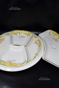 Set 5 Piatti Diverse Forme Tiffany In Ceramica Bianchi Con Narcisi Made In Italy