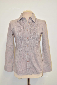 Camicia Donna Manica Lunga Benetton A Righe Marroni Tg S