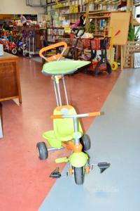 Triciclo Verde Arancio Smart Trike Con Maniglione E Tettuccio Parasole