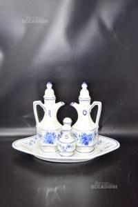 Cruet In Bassano Ceramic 4 Pieces + Tray