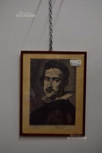 Quadro Ritratto D'uomo A Carboncino 45x58 Cm