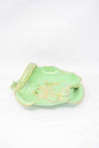 Piattino Verde Dorato Ceramica Fiorentina La Colonnata 20 Cm