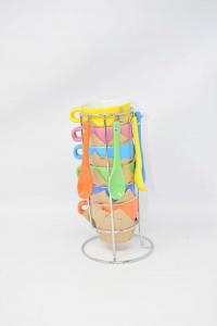 6 Tazzine Colorate Con Cucchiaino E Struttura Cromata
