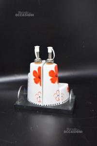 Oliera In Ceramica Con Vassoietto In Legno Fiori Rossi