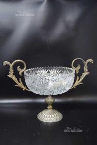 Coppa In Cristallo E Silver Altezza 24 Cm (difetto Coppa Vetro Rotto)