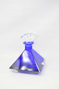 Bottiglia Piramidale In Vetro Blu Con Tappo Altezza 20 Cm