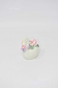 Cigno In Ceramica 7 Pezzi Con Rosellina Alto 6 Cm