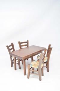Set Miniatura Tavolino In Legno H 13 Cm + 4 Sedie