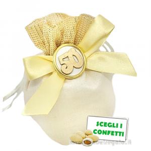 Portaconfetti Avorio e Oro con numero 50° Anniversario 11 cm - Sacchetti nozze d'oro