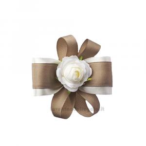 Fiocco chiudipacco Tortora con fiore artificiale 9 cm - Decorazioni