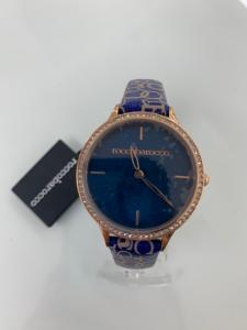 Orologio donna Rocco Barocco con cinturino logato in pelle azzurra RBW551