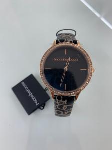 Orologio donna Rocco Barocco con cinturino logato  in pelle neroRBW547