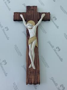 Crocifisso Estego in legno da parete Made in Italy 9603110