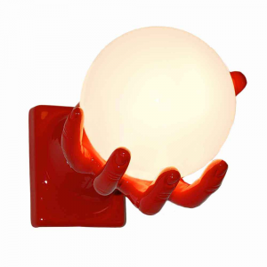 Lampada da parete Mano Globo in resina rosso lucido Made in Italy