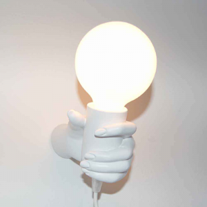 Lampada da parete Mano Donna in resina bianco Made in Italy