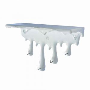 Mensola portachiavi Sgocciola in resina bianca Made in Italy
