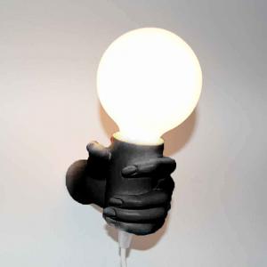 Lampada da parete Mano Donna in resina nero Made in Italy