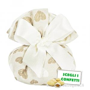 Portaconfetti Beige con cuori 13x14 cm - Sacchetti comunione e matrimonio