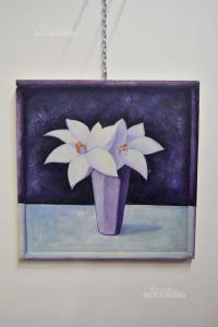 Quadro Lilium Azzurro Viola 70x70 Cm