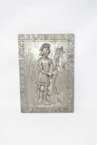 Quadro Tedesco In Metallo Con Cavaliere Florian 20x30 Cm