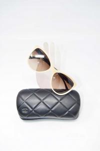 Occhiali Da Sole Chanel Nero/beige 5281-q Con Custodia