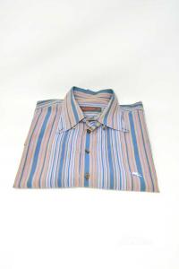 Camicia Uomo Etro Tg 44 A Righe Blu E Marroni