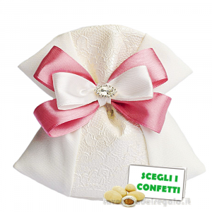 Portaconfetti piatto Panna con ricamo 14x14 cm con fiocco Rosa - Sacchetti bomboniere
