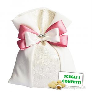 Portaconfetti piatto Panna con ricamo 13x17 cm con fiocco Rosa - Sacchetti bomboniere