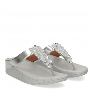 Fitflop Fino Sequin toe thongs silver