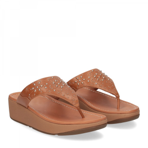 Fitflop Mya Floral stud toe thongs light tan