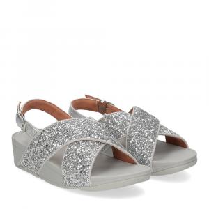 Fitflop Lulu glitter back strap sandals silver