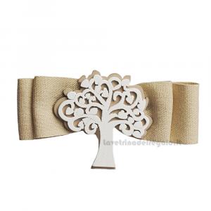 Fiocco chiudipacco Beige con Albero della Vita 8 cm - Decorazioni