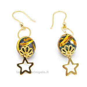 Orecchini con stelle e sfere in ceramica di Caltagirone - Gioielli Siciliani