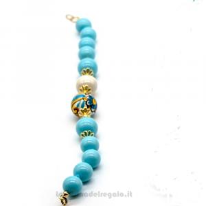 Bracciale con pasta di turchese e sfere in ceramica di Caltagirone - Gioielli Siciliani