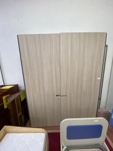 Wardrobe Sliding Two Wooden Doors Beige