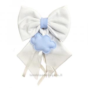 Fiocco nascita trapuntino Bianco e Celeste con nuvola in cotone 28x40 cm - Fiocchi nascita bimbo