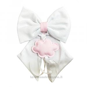 Fiocco nascita trapuntino Bianco e Rosa con nuvola in cotone 28x40 cm - Fiocchi nascita bimba