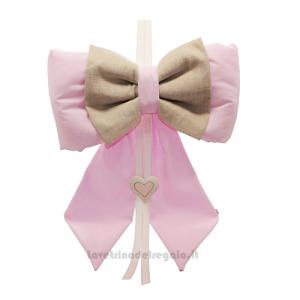 Fiocco nascita bicolore Rosa in cotone 34x10x44 cm - Fiocchi nascita bimba