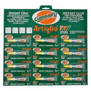 ADESIVO CIANOCRILATO 'ARTIGLIO CIANOWIL' gr.3 - 12 tubetti display appendib.