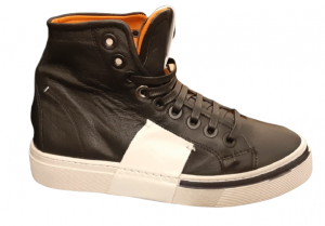 Sneakers alta donna |100% pelle |nera inserto bianco | Made in Italy