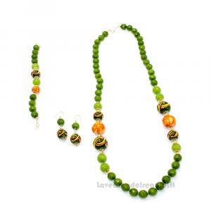 Parure agata verde con sfere in ceramica di Caltagirone - Gioielli Siciliani