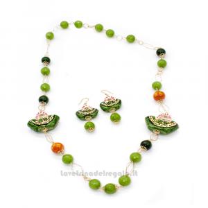Parure con agata verde e coffa siciliana in ceramica di Caltagirone - Gioielli Siciliani
