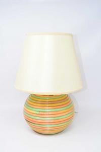 Lampada Con Base In Bamboo Verde Arancione + Paralume