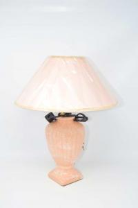 Lampada Con Base In Ceramica Rosa E Paralume Rosa