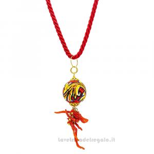 Collana ciondolo rosso con corallo in ceramica di Caltagirone - Gioielli Siciliani