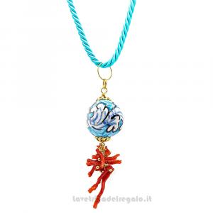 Collana ciondolo turchese con corallo in ceramica di Caltagirone - Gioielli Siciliani