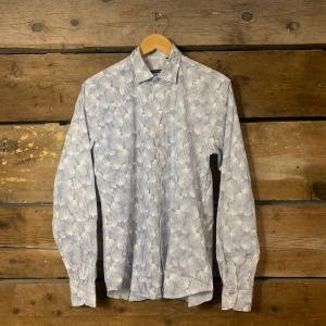 Camicia Gianni Lupo in Cotone a Righe con Conchiglie Bianca e Azzurra